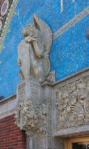 Winged lion with mosaic background, detail