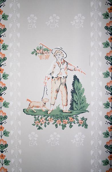 Woodville Plantation: interior: bedroom wallpaper detail