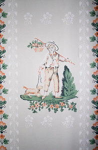 Woodville Plantation: interior: bedroom wallpaper detail