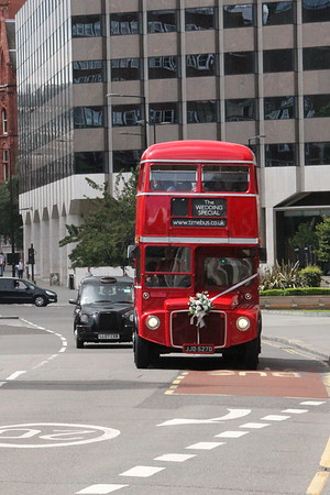 Icons of transport in London, a Routemaster bus and a Black Cab