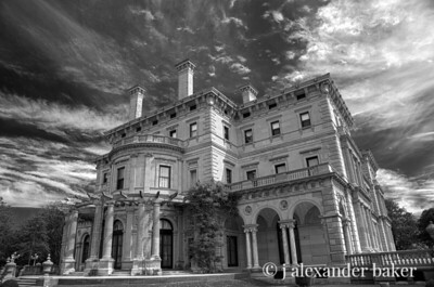 The Breakers, side view with Wisteria Arbor - Black & White