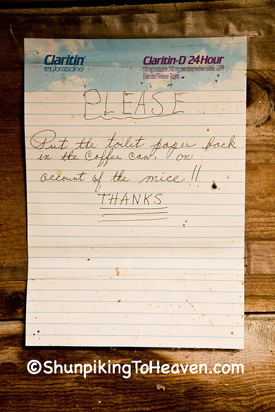 """On Account of the Mice"", Sign in Outhouse, Richland County, Wisconsin"