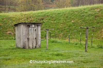 Weathered Gray Outhouse and Old Clothesline, Watauga County, North Carolina