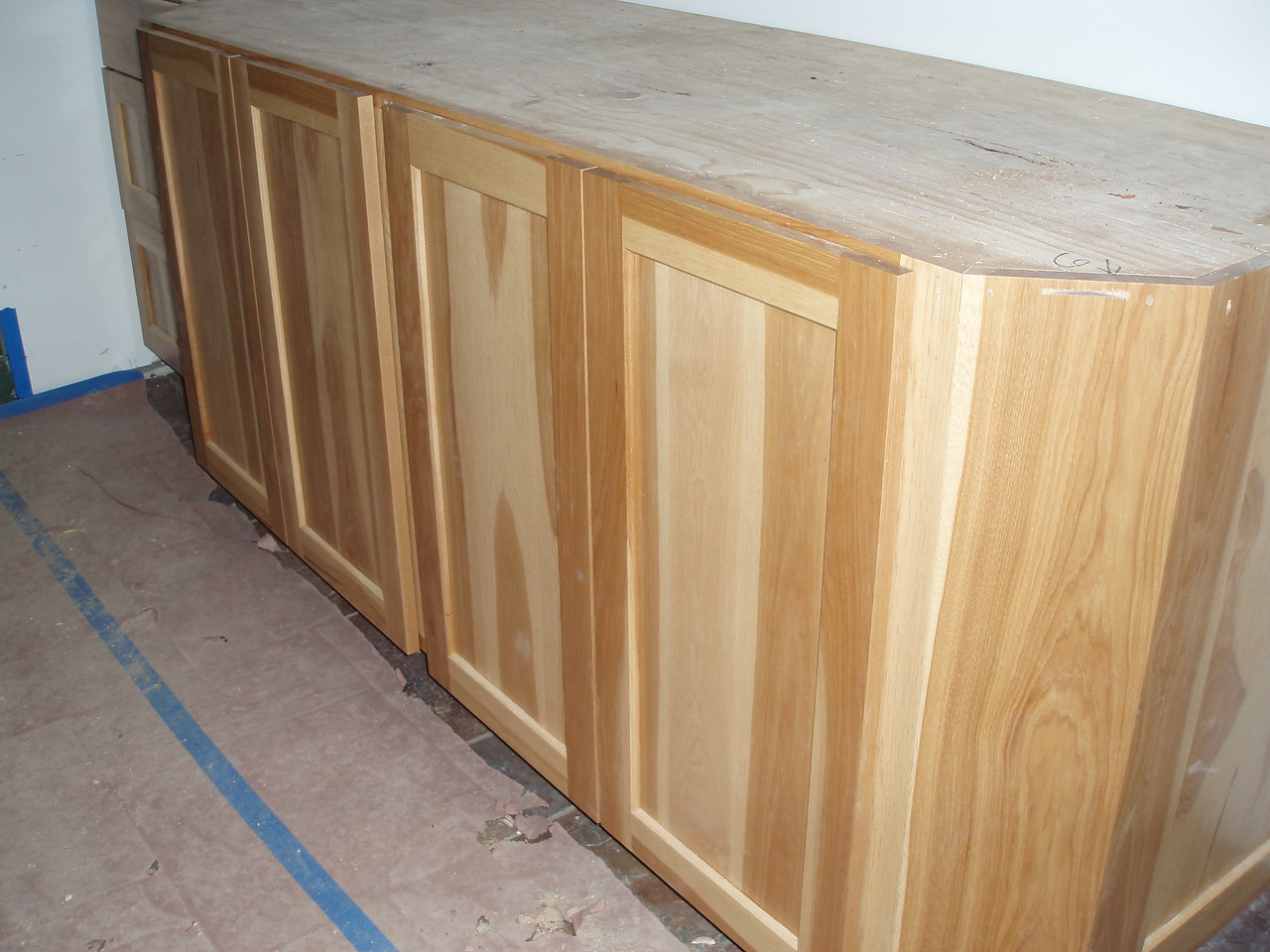 These wonderful happy wood cabinets are for the spa bathroom sink area.