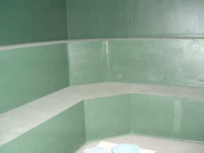 """This is the steam room...  the green walls are extra water resistant """"stuff"""""""