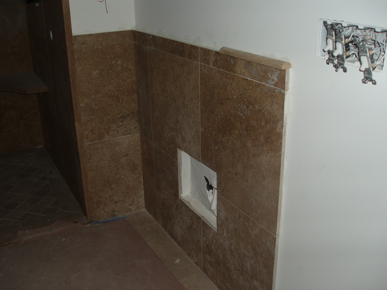 guest bath, tile on walls, floor and shower