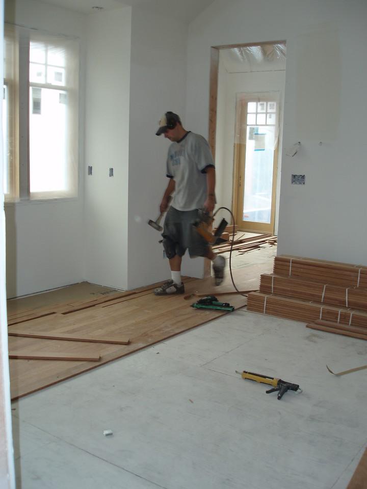 Hardwood floor going into our bedroom