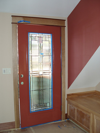 """Inside entry door to our """"Exercise Room""""  It was great fun.... what color to paint the door, make it blend in, or live on the wild side."""