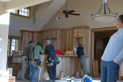 Where does everyone hang out???  The kitchen, of course, no different during the last phases of construction!
