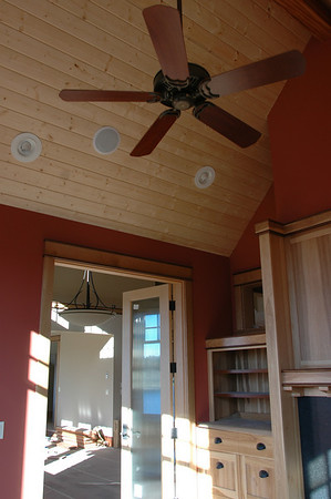 This is Tim's study looking into the dinning room (washed out).  The best part is to look at the fan and ceiling details.