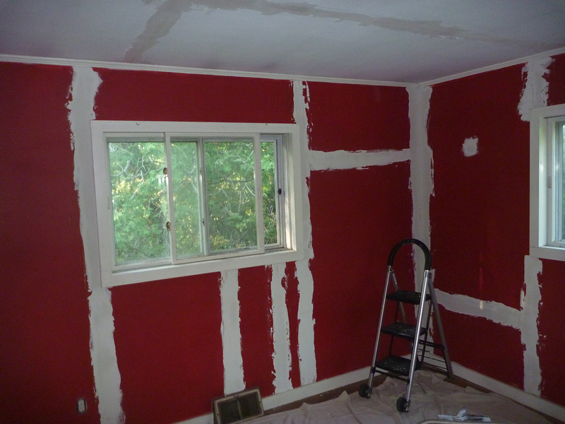 The Red room in first coat of spackle.