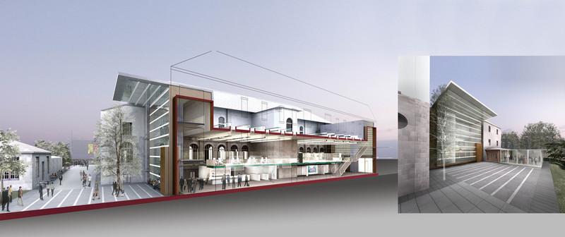 """45°49'59"""" N 1°15'37"""" E  Wettbewerb zur Neugestaltung und Revitalisierung des Porzellan Museum in Limoges, Frankreich. (1.Platz)  für Arch. Prof. Boris Podrecca"""