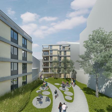 Cam 05: WB Wohnbebauung Schönbrunnerstrasse-Arndtstrasse rev7E012 Kamera 05:Ansicht Hof IV