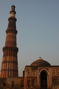 Qutb Minar - New Delhi, India It is an 11th Century soaring tower of victory after the defeat of last Hindu kingdom in Delhi.  It is made of sandstone and marble.