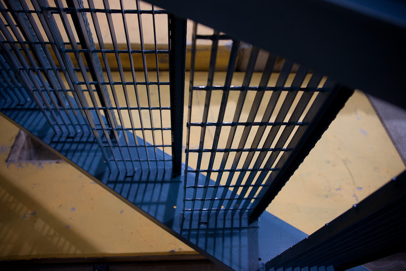 Catwalk stairs at the TRIUMF particle physics research facility, located on the grounds of UBC.
