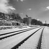 The granary tower, graffiti, and railroad tracks in River Arts District in Asheville NC.