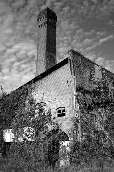 A photograph of the boiler room in the River Arts District in Asheville NC. This building was once a part of a larger cotton mill district. The buildings have been abandoned since the 1950s. Almost the entire complex was burned to the ground in the 1990s. This building contains ice-making equipment that is at least 60 years old. The buildings, in most cases have been converted into artist studios.