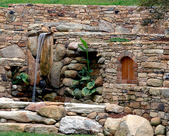 "The waterfall, brick work, door and planting shown here are part of the ornamentation of a stone retaining wall constructed at a residence near Durham, NC.  See <a href=""http://www.alechimwich.com/Landscapes/Panoramas/Panoramas/11196391_jYSK4#798929246_CUWNG"">Stone wall panorama</a> for a general description of the wall itself.  Other details of this wall may be seen in this album."