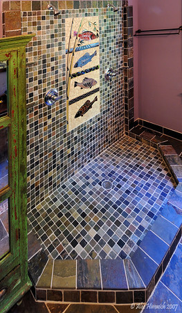 Installation of mosaic in dual shower