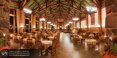 The Ahwahnee Hotel's Grand Dinning Room - HD Panorama. 180 degree horizontal view comprised from 7 vertical images and digitally stitched for a total of 10,024x5155 pixels! 30 second exposures at f/11, ISO 100, 24mm. February 25, 2013 at 9:36 PM.
