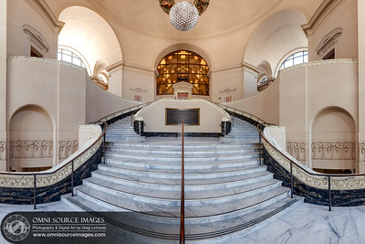 Oakland City Hall Interior #1 – Super-HD Hemispherical Panorama. This hemispheric panorama was created from 182 individual photographs with a total resolution of 9920x6613 pixels/300dpi. 3 exposures in 60 positions each, divided over five rows of twelve positions, were digitally stitched and blended into 3 separate files (one for each bracketed exposure) The three stitched panoramas were then fused together and developed to form this single high-dynamic range/super-HD image. Photographed at ISO 50, 50mm, f/11 for ultimate clarity and detail.