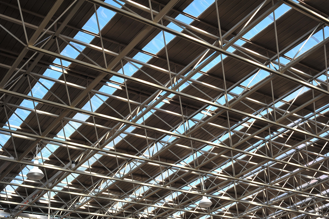 Geometric shapes, roof of Perth Central Train station, Western Australia.