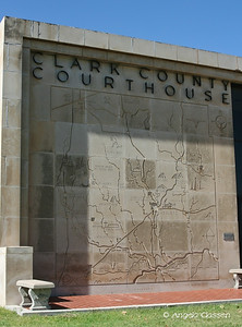Detail of county map carved into wall of Clark Co. Courthouse