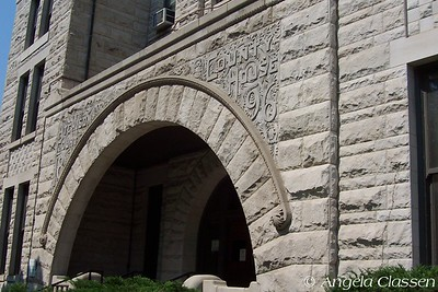 Details of stonework over main entrance of Atchison Co. Courthouse