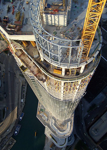 Photo by Ken Derry.    Trump Tower Chicago, from the crane jib.