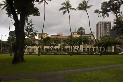 King Kalukaua Building, built in 1922Spanish Mission Revival Style architectureHome of the U.S. Post Office, and the Department of Commerce and Consumer Affairs