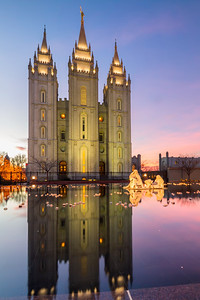 LDS SLC temple with reflection.