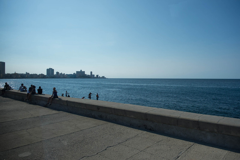 seawall; calm ocean