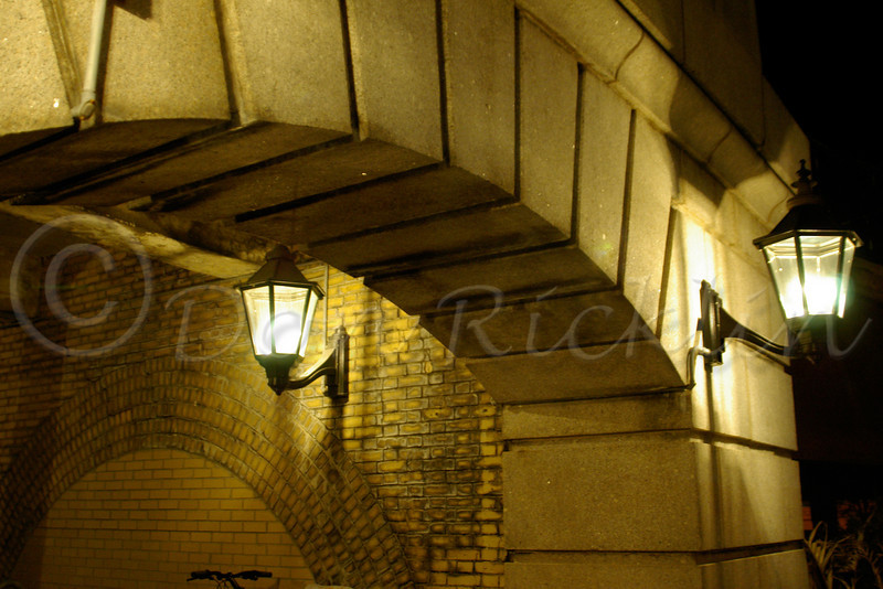 Archway to stairs and tracks with Wall Sconce Lanterns, Union Station, Worcester. MA