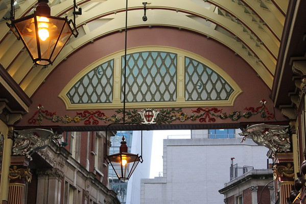 Leadenhall Market<br /> Detail over the southern entrance<br /> 11 April 2015