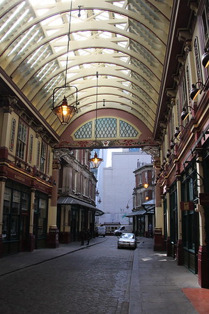 Leadenhall Market<br /> Looking toward the southern entrance from the central crossing<br /> 11 April 2015