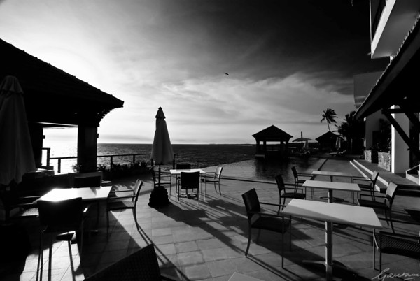 Club floor poolside deck, Leela Beach Resort, Kovalam; Black and White