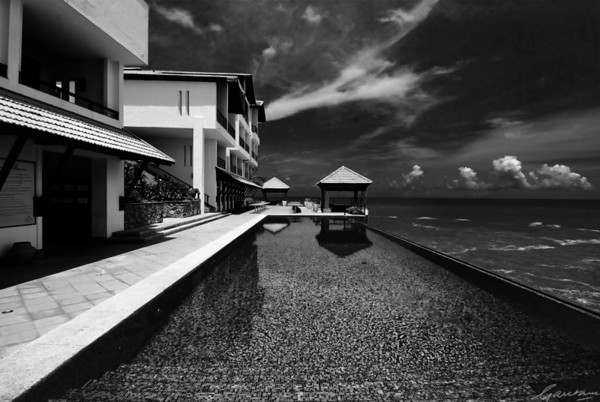 Club floor pool, Leela Beach Resort, Kovalam; black and white, very film noir