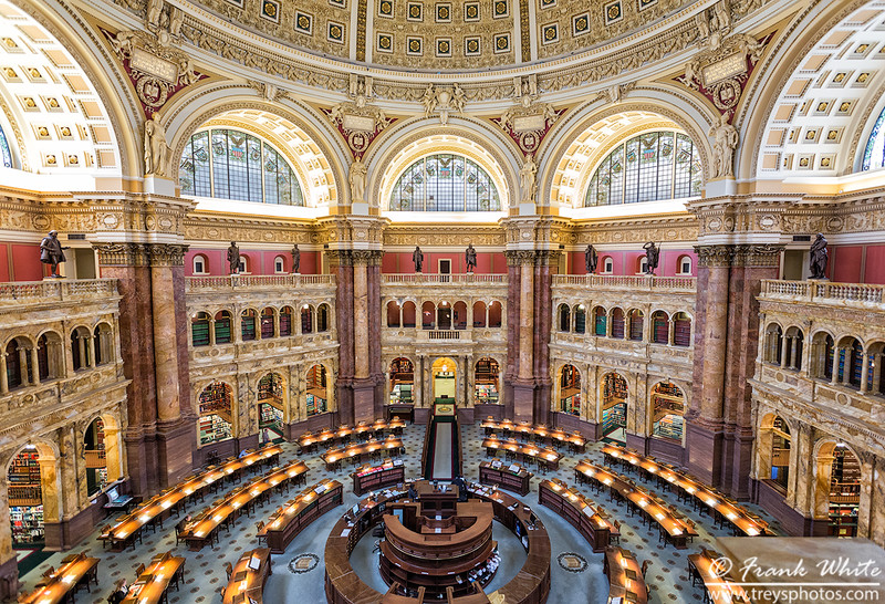 Looking down on the main reading room, Library of Congress