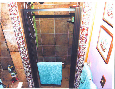 The shower next to the Wirlpool tub.