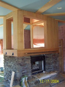 Trim work on the fireplace.