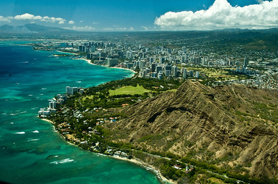 Aerial of the Diamond Head area  South Oahu, Hawaii  050818.015752