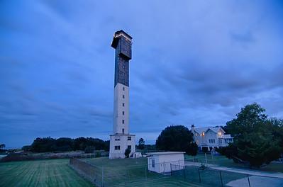 Charleston lighthouse at night  located on Sullivan's Island in South Carolina