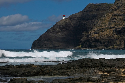 Makapu`u Lighthouse (1909) is 395 feet above the water, on the extreme southeastern point of the island of Oahu. To the east is the Kaiwi Channel, which is between Oahu and Molokai, 25 miles away.