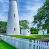 The Ocracoke Lighthouse and Keeper's Dwelling on Ocracoke Island of North Carolina's Outer Banks