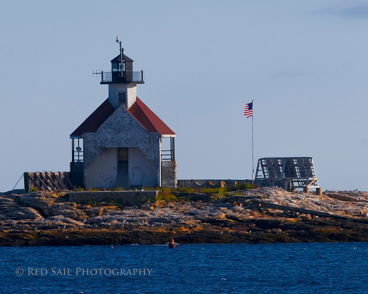 The Cuckolds Lighthouse. Located in Cape Harbor off Southport Island near Newagen, Maine.