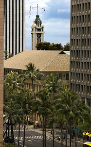 Aloha Tower in the Background, shot from a few blocks away  Alexander & Baldwin Building in the foreground  060503.14344