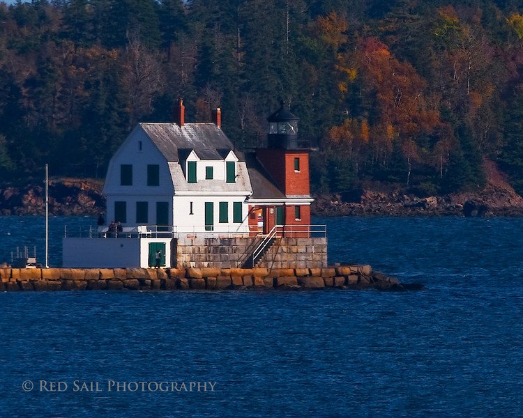 Rockland Breakwater Light. Located in Rockland Maine, this lighthouse sits at the end of the breakwater which was constructed to separate Rockland Harbor from the West Penobscot Bay.