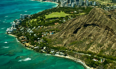 Aerial of the Diamond Head area  South Oahu, Hawaii  050818.015750