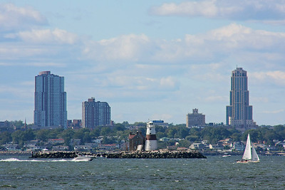 Execution Rocks Light House with New Rochelle in background as seen from Sands Point