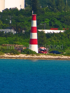 Pinder point lighthouse in Freeport Harbor in the Bahamas
